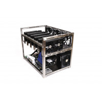 EXA_6 – universal 6 GPUs, brushed stainless steel open-air mining rig case