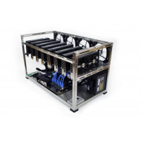 EXA_8 – universal 8 GPUs, brushed stainless steel open-air mining rig case