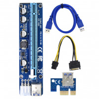 Riser - VER008C Molex 6PIN PCI-E SATA Riser Card Adapter 1X to 16X USB3.0
