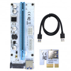 Riser - VER008S Molex 4Pin SATA 6PIN PCI-E Riser Card Adapter 1X to 16X USB3.0